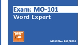 15% MO-101 Word Expert Exam - Office 365 & Office 2019 - English version - 25 hours access Voucher